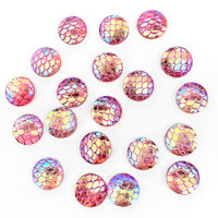 Resin Rhinestone Blings - Pink Fish Scale Shine (12 mm, 20/pack)