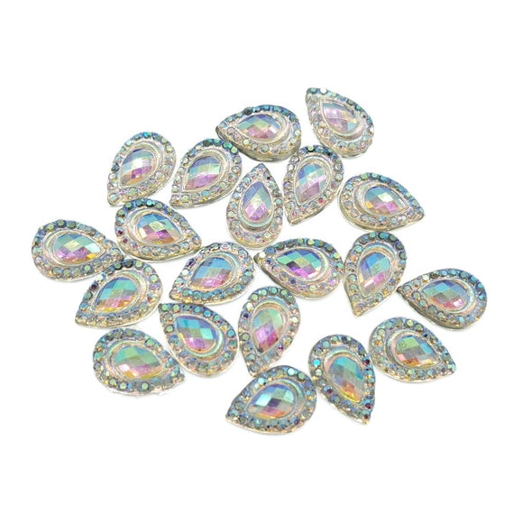 Resin Rhinestone Blings - Flatback, AB Tear Drop (12 mm, 20/pack)