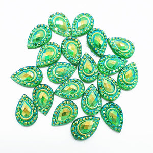Resin Rhinestone Blings - Flatback, Green Tear Drop (12 mm, 20/pack)