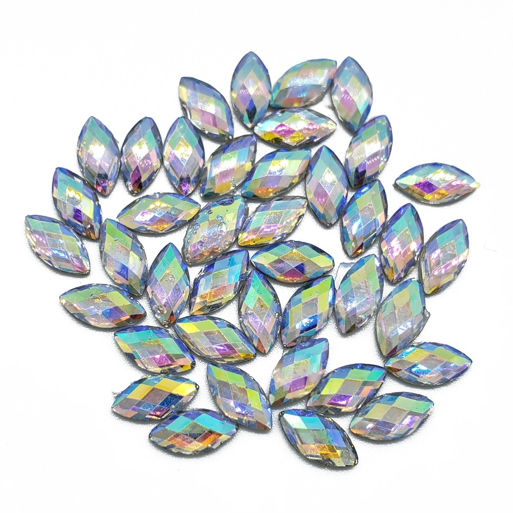 Resin Rhinestone Blings - Flatback, AB Eye Shaped (8 mm, 40/pack)