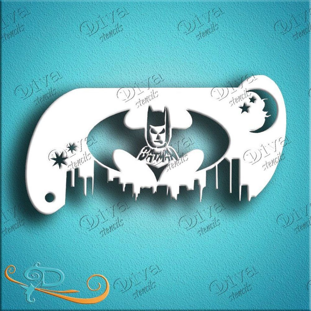 Diva Face Painting Stencil - Forehead Batman Band