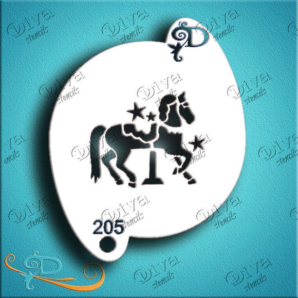 Diva Face Painting Stencil - Carousel Horse