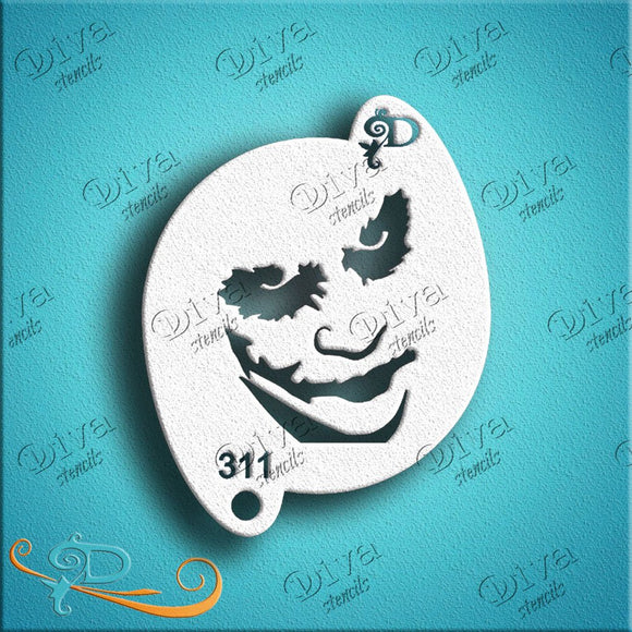 Diva Face Painting Stencil - Joker