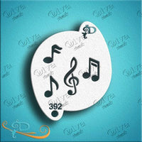 Diva Face Painting Stencil - Music Notes