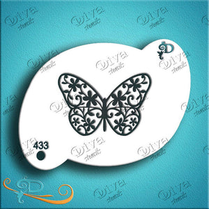 Diva Face Painting Stencil - Butterfly Positive 2 Step