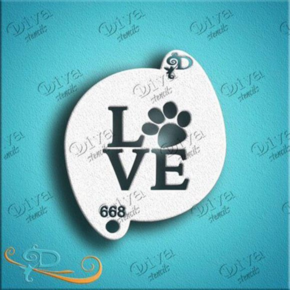 Diva Face Painting Stencil - Dog Paw Love