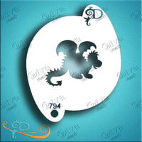 Diva Face Painting Stencil - Cute Dragon