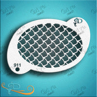 Diva Face Painting Stencil - Large Scales on Oval
