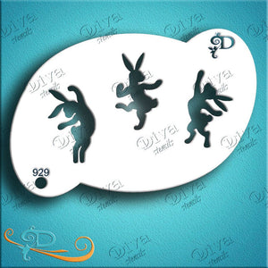 Diva Face Painting Stencil - Dancing Bunnies