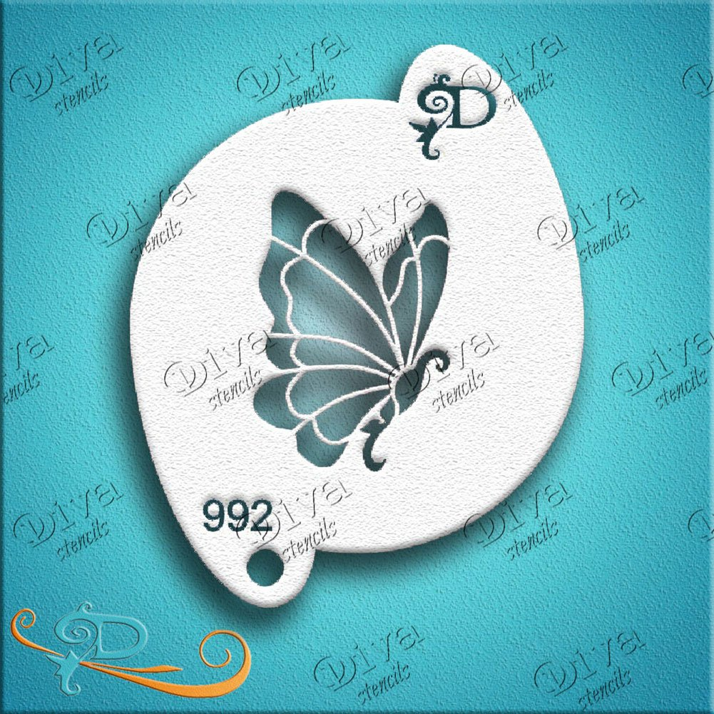 Diva Face Painting Stencil - Diva Butterfly