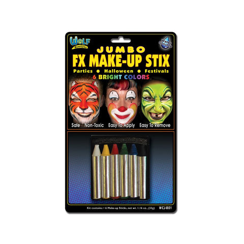 Wolfe Jumbo Face Paint Crayons - Bright (6/box)