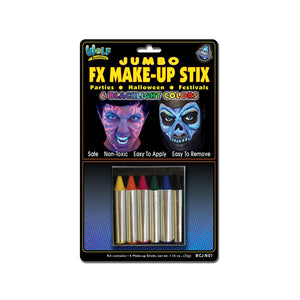 Wolfe Jumbo Face Paint Crayons - Neon/Blacklight (6/box)