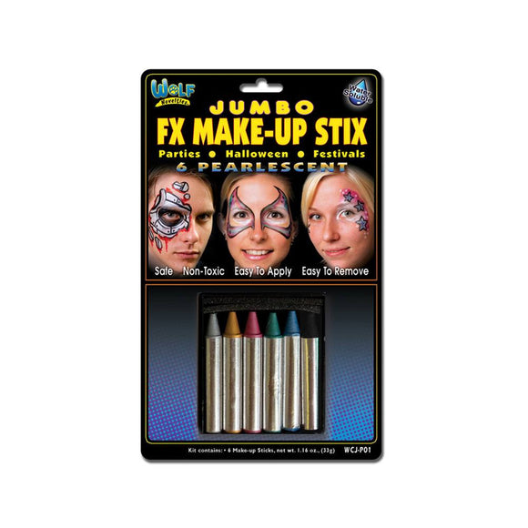 Wolfe Jumbo Face Paint Crayons - Pearl (6/box)
