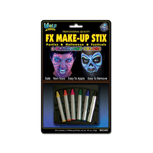Wolfe Face Paint Crayons - Neon/Blacklight (6/box)