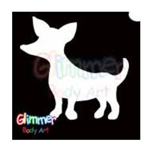Glimmer Body Art Glitter Tattoo Stencils - Chihuahua (5/pack)