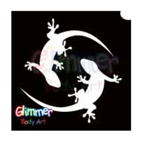 Glimmer Body Art Glitter Tattoo Stencils - Twin Gecko (5/pack)