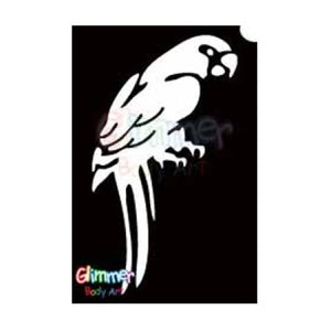 Glimmer Body Art Glitter Tattoo Stencils - Parrot (5/pack)