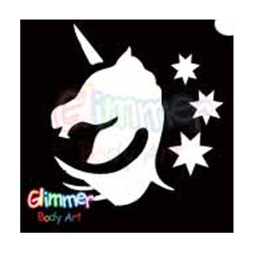 Glimmer Body Art Glitter Tattoo Stencils - Unicorn Head (5/pack)