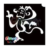 Glimmer Body Art Glitter Tattoo Stencils - Monkey (5/pack)