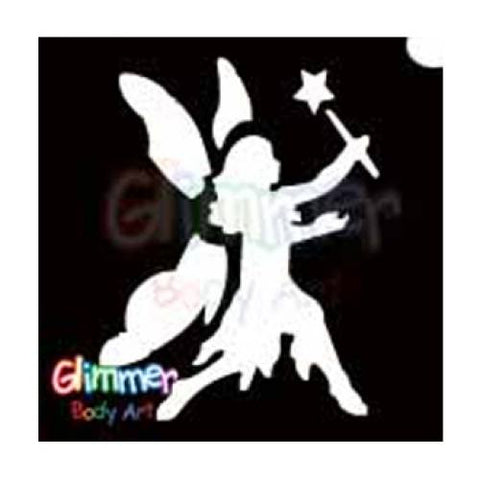 Glimmer Body Art Glitter Tattoo Stencils - Walking Fairy (5/pack)