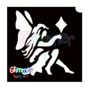 Glimmer Body Art Glitter Tattoo Stencils - Sitting Fairy (5/pack)