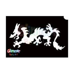 Glimmer Body Art Glitter Tattoo Stencils - Chinese Dragon 2 (5/pack)