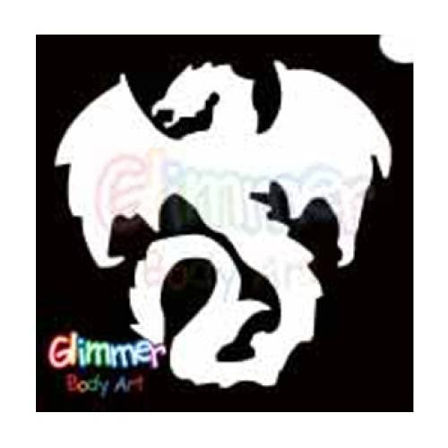 Glimmer Body Art Glitter Tattoo Stencils - Gothic Dragon 1 (5/pack)