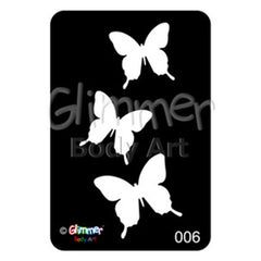 Glimmer Body Art Glitter Tattoo Stencils - Butterflies (5/pack)