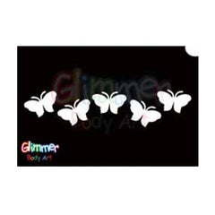 Glimmer Body Art Glitter Tattoo Stencils - Butterfly 13 (5/pack)