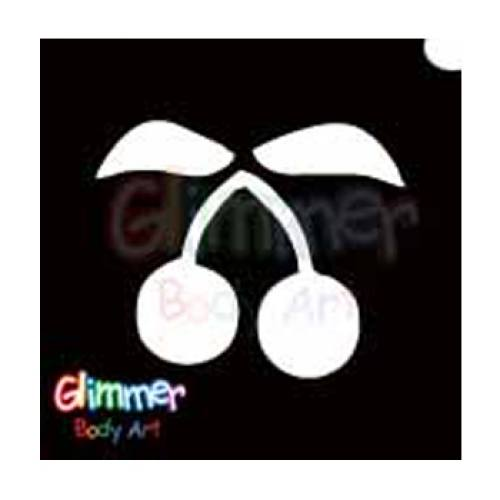 Glimmer Body Art Glitter Tattoo Stencils - Cherries (5/pack)