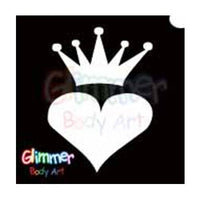 Glimmer Body Art Glitter Tattoo Stencils - Crowned Heart (5/pack)