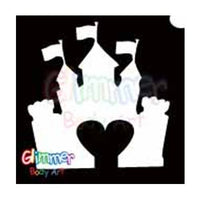 Glimmer Body Art Glitter Tattoo Stencils - Castle Heart (5/pack)