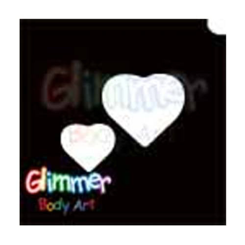 Glimmer Body Art Glitter Tattoo Stencils - Two Heart (5/pack)