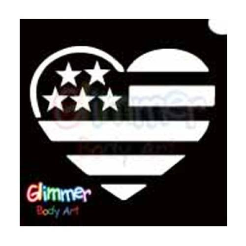 Glimmer Body Art Glitter Tattoo Stencils - USA Flag Heart (5/pack)