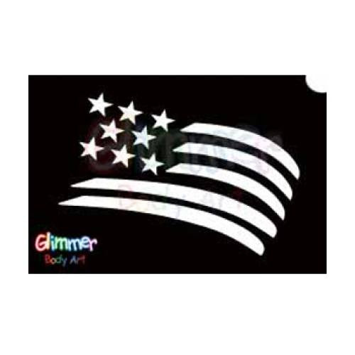 Glimmer Body Art Glitter Tattoo Stencils - USA Flag (5/pack)