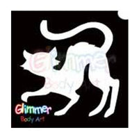 Glimmer Body Art Glitter Tattoo Stencils - Black Cat (5/pack)