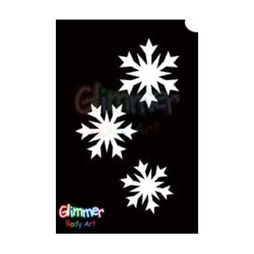 Glimmer Body Art Glitter Tattoo Stencils - Snow Flakes 1 (5/pack)