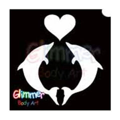 Glimmer Body Art Glitter Tattoo Stencils - Dolphin Heart (5/pack)