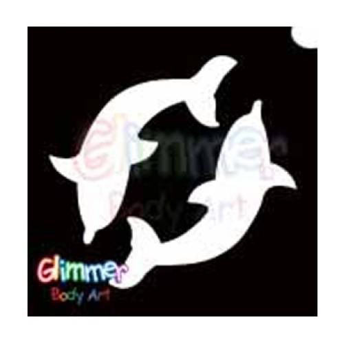 Glimmer Body Art Glitter Tattoo Stencils - Twin Dolphin 1 (5/pack)