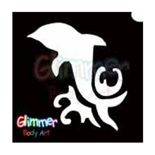 Glimmer Body Art Glitter Tattoo Stencils - Dolphin 4 (5/pack)