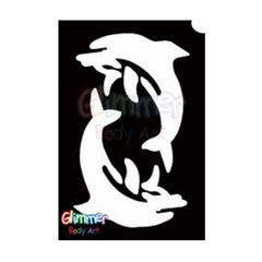 Glimmer Body Art Glitter Tattoo Stencils - Twin Dolphin 2 (5/pack)