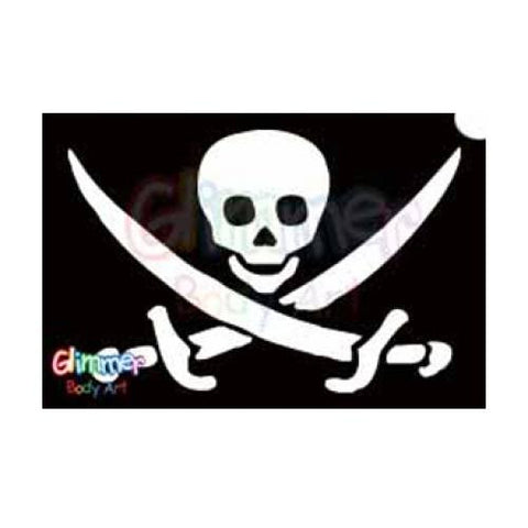 Glimmer Body Art Glitter Tattoo Stencil - Pirate Skull Swords1(5/pack)