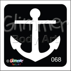 Glimmer Body Art Glitter Tattoo Stencils - Anchor (5/pack)