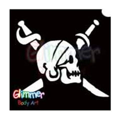 Glimmer Body Art Glitter Tattoo Stencil - Pirate Skull Swords2(5/pack)