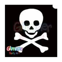 Glimmer Body Art Glitter Tattoo Stencil - Skull & Crossbones 1(5/pack)