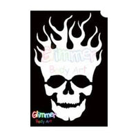 Glimmer Body Art Glitter Tattoo Stencils - Flaming Skull (5/pack)
