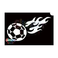 Glimmer Body Art Glitter Tattoo Stencil - Flaming Soccer Ball (5/pack)