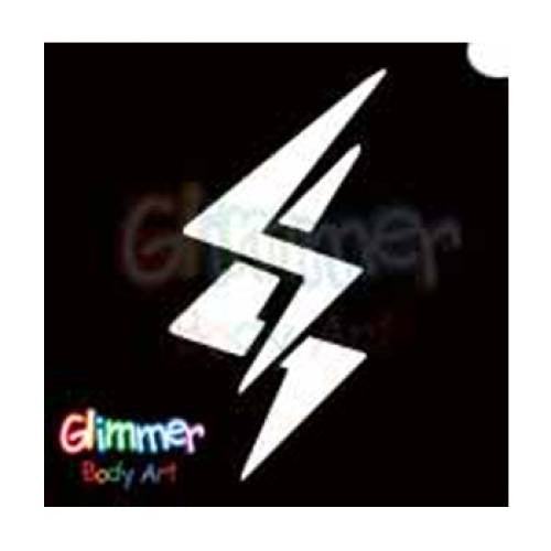 Glimmer Body Art Glitter Tattoo Stencils - Lightning (5/pack)