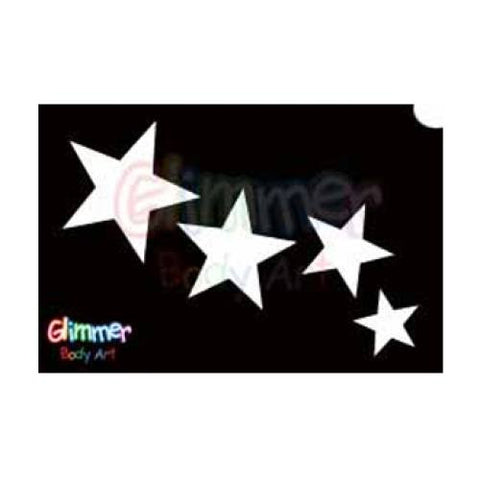 Glimmer Body Art Glitter Tattoo Stencils - Stars 2 (5/pack)