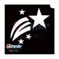 Glimmer Body Art Glitter Tattoo Stencils - Shooting Star (5/pack)